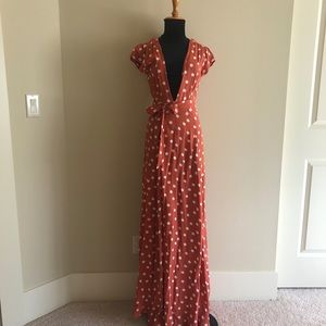 NWT Tularosa Sid Polka Dot Maxi Wrap Dress